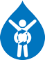 Drop-shaped blue icon, white figure, focus on stomach - Special Nutrition - AAK