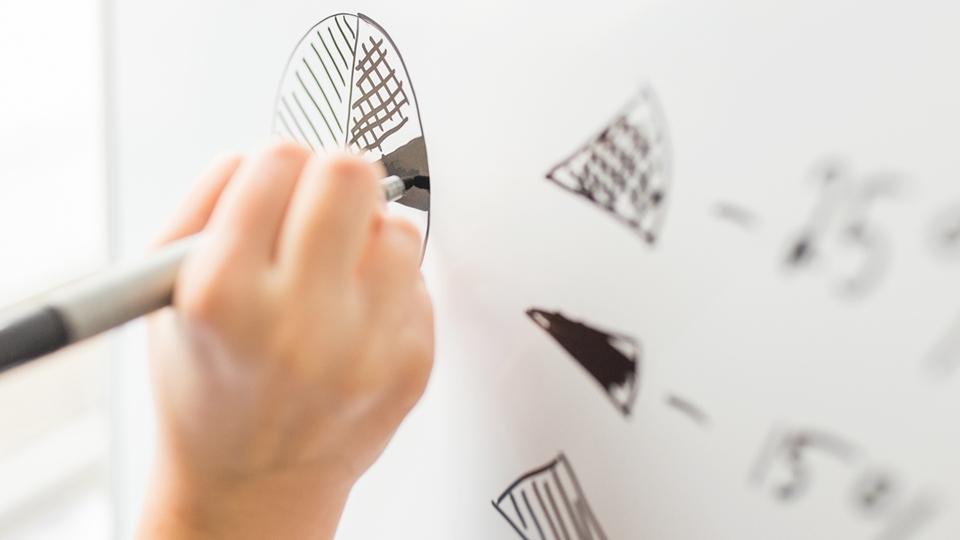 Närbild på en hand som ritar med penna på whiteboard - Investerare - AAK