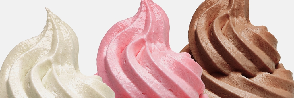 Close-up of white, pink, and brown soft ice cream - Co-Development - AAK